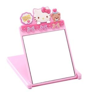 Hello Kitty Stand Up Mirror Small Pink Folds Flat